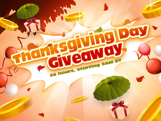 We're thankful for GIVEAWAYS!